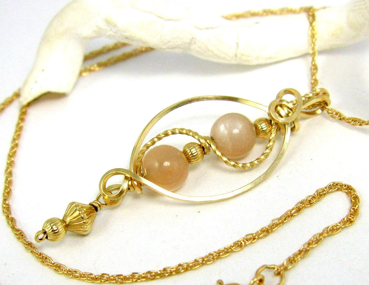 Peach Moonstone Pendant Necklace Gold by LeesEarringBoutique