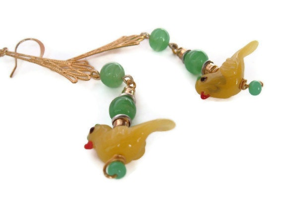 Yellow birds vintage recycle earring danglers