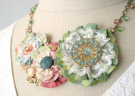 Colorful Floral Statement Necklace in Spring Pastels, Textile Necklace, Vintage Jewel Necklace, Fabric Flower Necklace