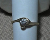 14k Diamond Solitaire Heart Ring Heart .20 carat Size 9