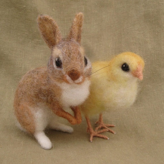 Needle felted bunny and chick, Easter basket spring decoration