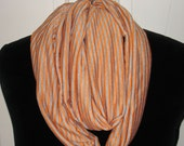UNISEX Knit Infinity Orange and Gray Stripe Handmade Cynsible Creations