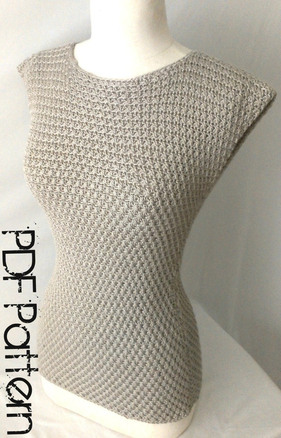 Crochet Summer Top-Asymmetrical Stitch- PDF Pattern