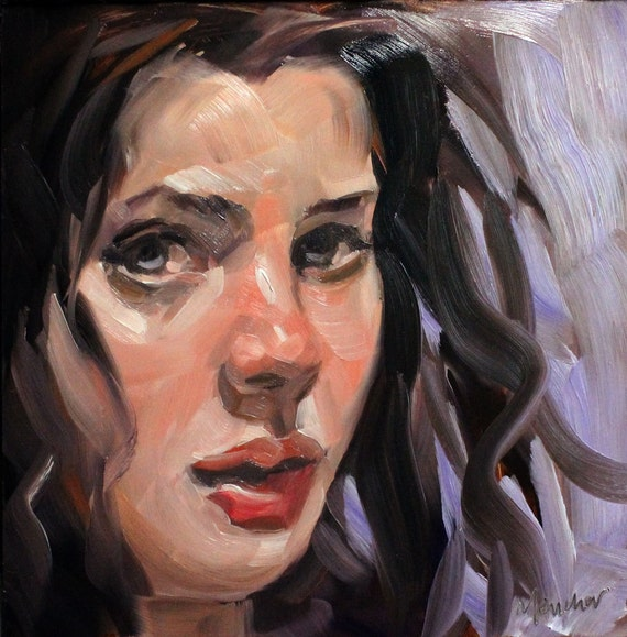 No One Will Ever Look at Me that Way Again, oil on masonite 8x8 inches by Kenney Mencher
