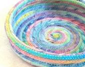 Coiled fabric bowl basket pastel rainbow colors - LeahsHeart