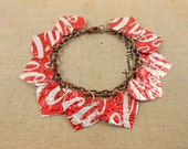 10 Red Heart Bracelet.. DOUBLE-sided.  Recycled Soda Can Art.  Coca Cola - jillmccp