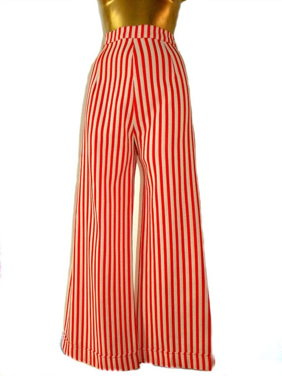 Vintage Original 70s Red and White stripe Flares loons bell bottoms pants trousers flared glam rock high waisted striped biba rocker