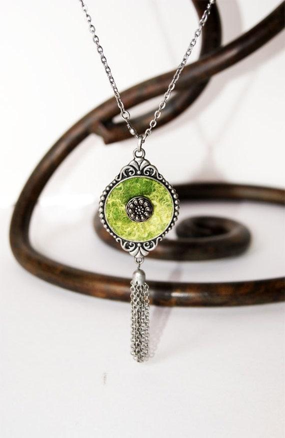 Grassy Light Green Wool Silk Pendant. Gift 35
