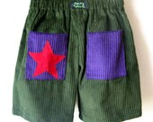 Sizes 000 to 5 avail. Green corduroy kids shorts with purple pockets - kissmypatootie