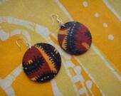 Hot Paisley Batik Fabric Earrings African Wax Print Tie Dye Hippie Boho