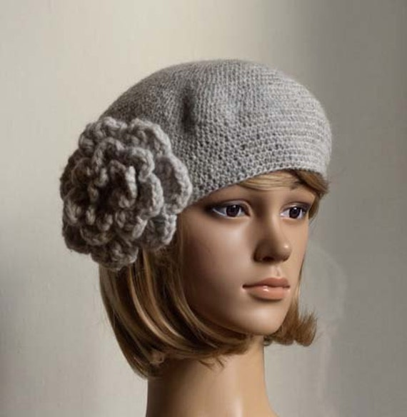 PDF CROCHET PATTERN Bewitching Beatrice Beret grey crochet flower hat cap beanie tutorial