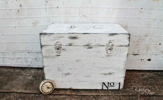 Vintage Wooden Train Case with Typography - Upcycled Sewing Machine Case