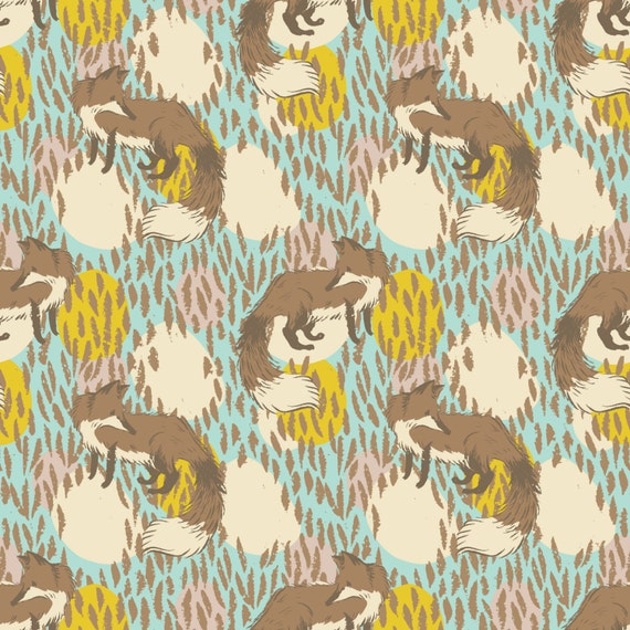 TIMBER & LEAF - Playful Fox in Blue - Sarah Watts for Blend Fabrics - 1 Yard