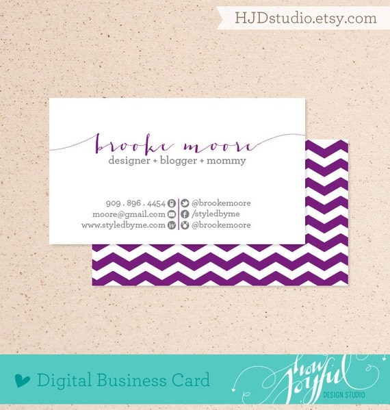 Chevron business card digital file - We customize, you print (PDF or JPG high resolution)