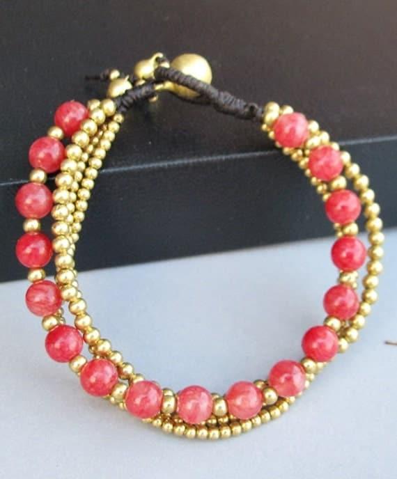 6 mm Round Cherry Quartz Stone Multi Line Bracelet