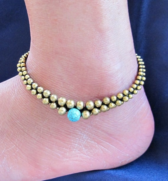 Aloe Vera Stud Anklet with 8 mm Round Turquoise