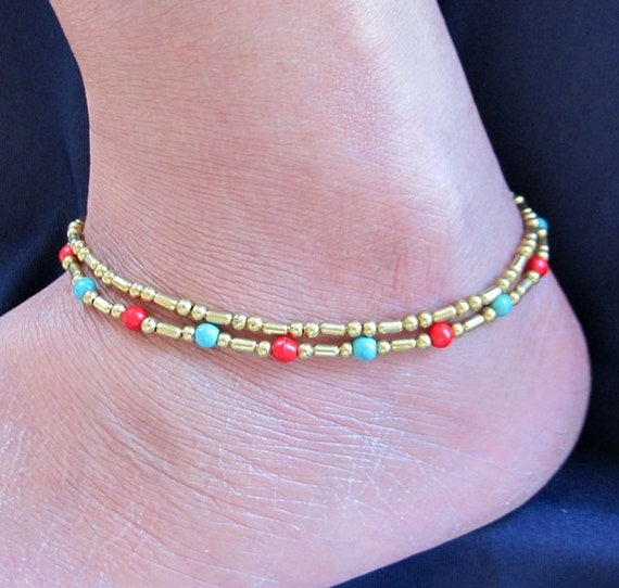 Double Strand Ankle Bracelet with Fancy Brass Bead and Red Blue Bead