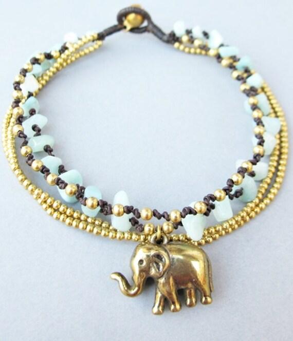 Charm Elephant with Multi Strand Amazonite and Brass Bead Ankle Bracelet