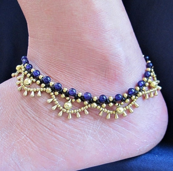 Charm Cascade Ankle Bracelet with Brass Bell and Amethyst Bead
