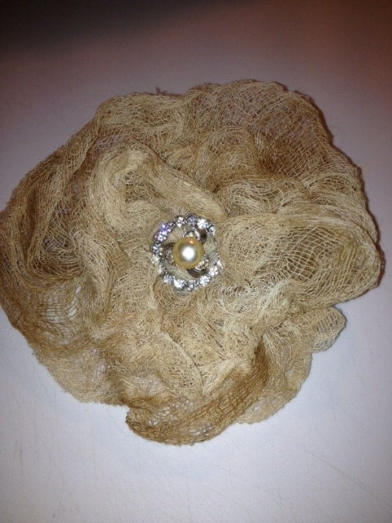 Gauze Rose Pin with Rhinestone Pearl Center