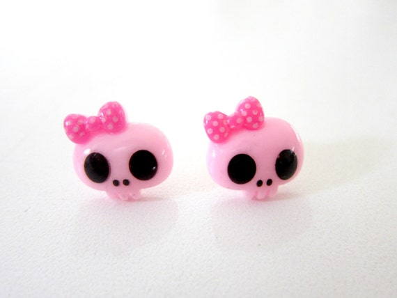 Cute Pink Skull Silver Plated Stud Earrings