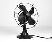 Antique Early 1900's Black Industrial General Electric Metal Oscillating Fan - HoofAndAntler