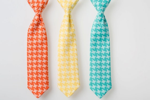Little Boy Tie - Coral, Yellow, or Teal Houndstooth - Baby Boy Necktie