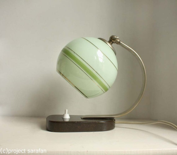 Vintage Art Deco / Bauhaus Style Lamp. Mint Green Glass Globe Shade with Green stripes. Marble Base