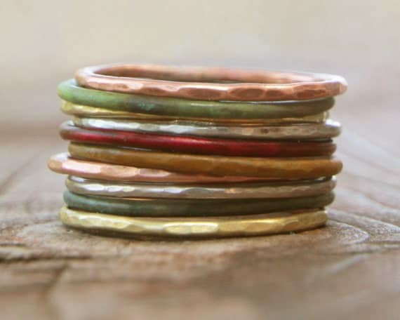 Stacking Skinny Rustic Rings Silver Gold Copper Patina Rings TEN Stacking Hammered Brushed Soldered Delicate Simple Chic Spring Fashion