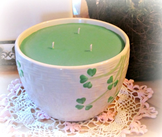 Large Soy Candle, 36 ounces Irish Moss, Three Wick, St. Patrick's Day,  White Bowl, Green Clover