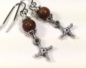 Gemstone Earrings - St Brigid, Brick Stone, Stainless Steel, Cross Earrings - BellaDonnasShoppe