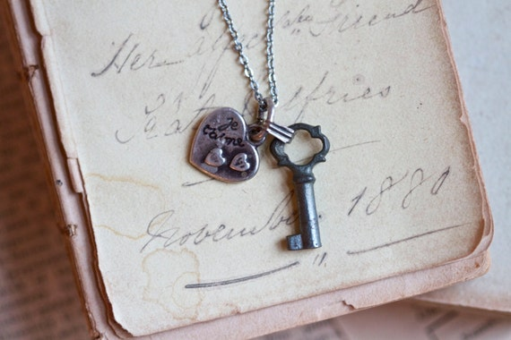 Je T'aime Necklace - Tiny Antique french Skeleton Key and Heart Pendants on Chain