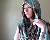 Bohemian Shawl - Tie Dyed Extra Long Chunky Scarf - Oversized Boho Wrap - Seafoam Green, Brown, Taupe - EcoShag