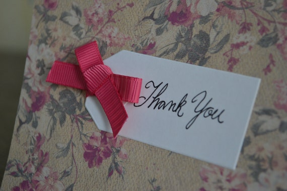 Caroline - Shabby Retro Floral Thank You Notecards Set of 4
