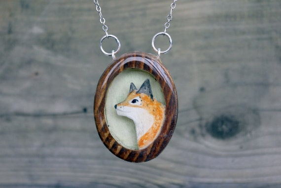 Framed Fox Necklace- Hand painted wood fox necklace- reclaimed wooden fox necklace
