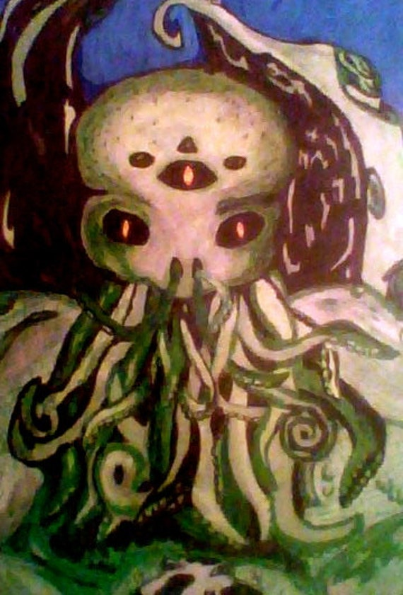 Cthulhu Drawing - H.P. Lovecraft 7x10 cosmic horror art print