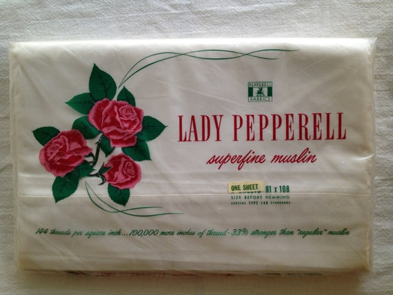 Vintage Lady Pepperell, White Flat Full Superfine Muslin Sheet 81 x 108