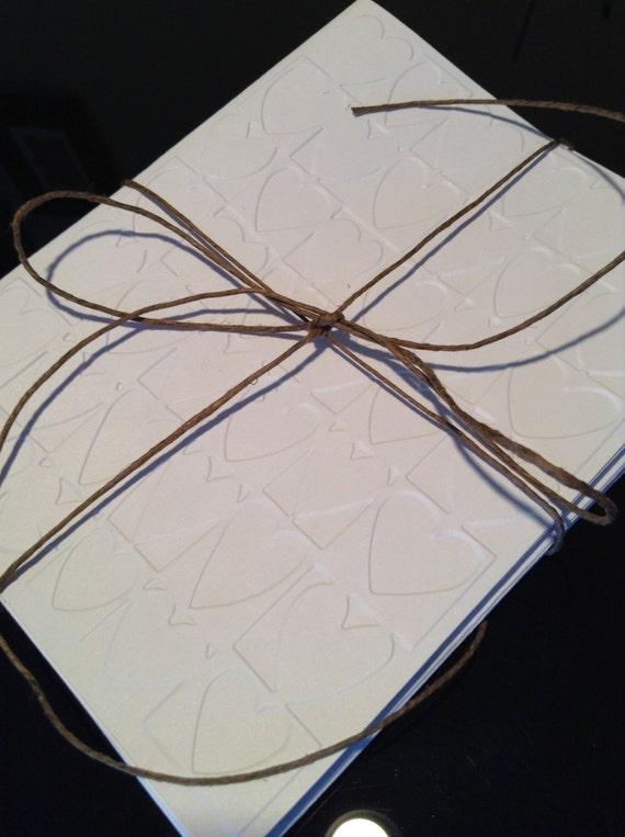 Handmade, Embossed Card set, Valentines day, hearts,, White, Plain, Blank, card set