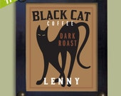Black Cat Art Print Personalized Coffee Theme Kitchen Art - DexMex