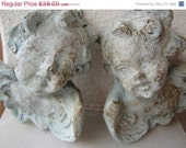 50% OFF EVERYTHING Vintage,French shabby chic pair old,grungy robin/duck egg blue, painted cherubs.Paris apartment - shabbyfrenchstyle