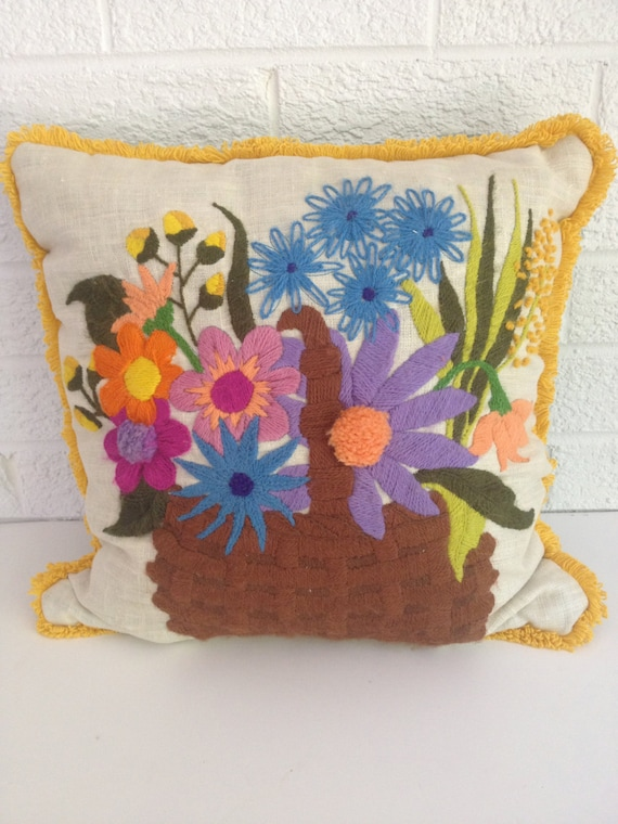 Vintage Basket of Flowers Crewel Embroidery Pillow