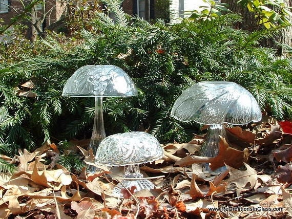 Garden art. Glass totems.  Trio of Mushrooms made with repurposed glass. Garden art decor.