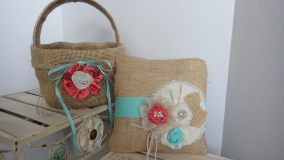 Rustic Burlap Ring Bearer Pillow and Burlap Flower Girl Basket Set Turquoise and Coral Ring Bearer Flower Girl Beach Wedding Burlap
