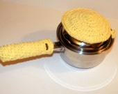 Thick Pan Handle and Lid, Pot Holders, the 'pan handler' and Pot Lid Handle Cover Kitchen Gift Set of 2 featured in Yellow - CottageCoveCrochet