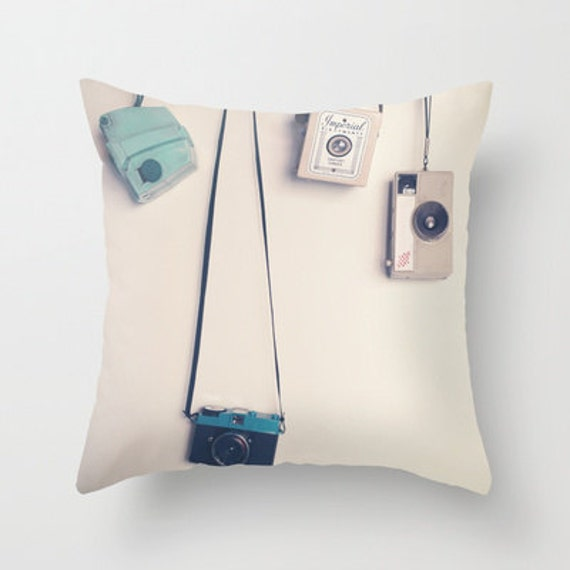 Pillow Cover Beige Pillow Camera Pillow Vintage by CarolineMint