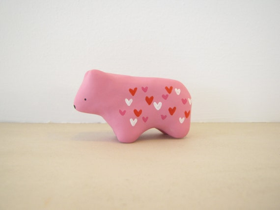 Cupid Bear - Miniature Animal Figurine in Hand Painted Polymer Clay - Valentines Day gift red, white, pink hearts, love