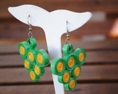 Paper Earrings - quilling - green and yellow - paper jewelry
