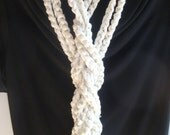 Crocheted Chain Scarf / Necklace in Off White