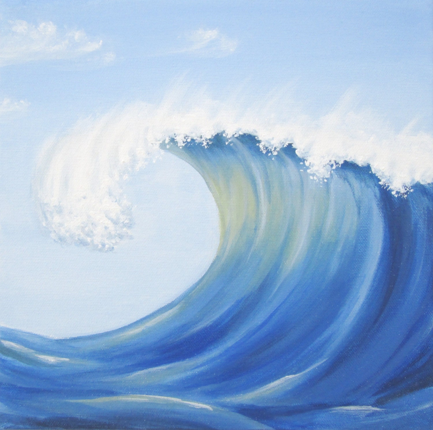 blue ocean wave, blue wave art, wave painting, breaker art, crashing wave art, blue sea acrylic painting