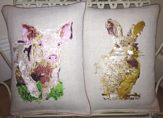 Vintage Linen, Pippa the Pig or Rafi the Rabbit, Embroidery Art Throw Cushion